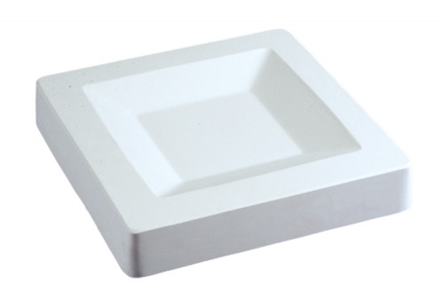 """This mold actually has a total size of 10 1/4"""" square, with the inner slump an 8"""" square. The inner bottom flat is approximately 4 5/8"""" square with a depth of 5/8"""". You can trim the clay to the 8"""" square, or add a """"lip"""" to your dish and trim at the 10 1/4"""" square. Allow clay slab to dry in the mold before removing from mold and firing."""
