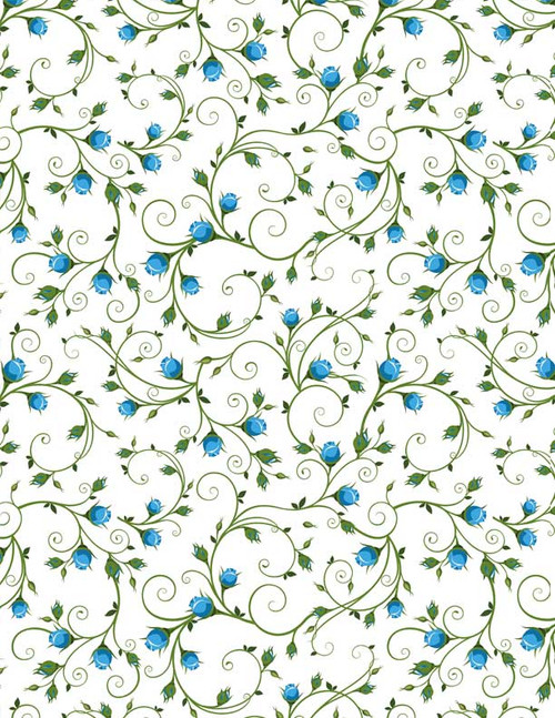 Blue Rose Full Color Underglaze Decal 19 x 13 in