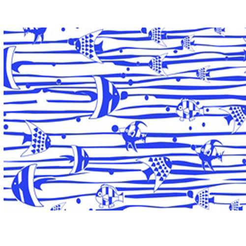 DC 10014 Tropical FIshes Blue UnderglazeTransfer18 X 14