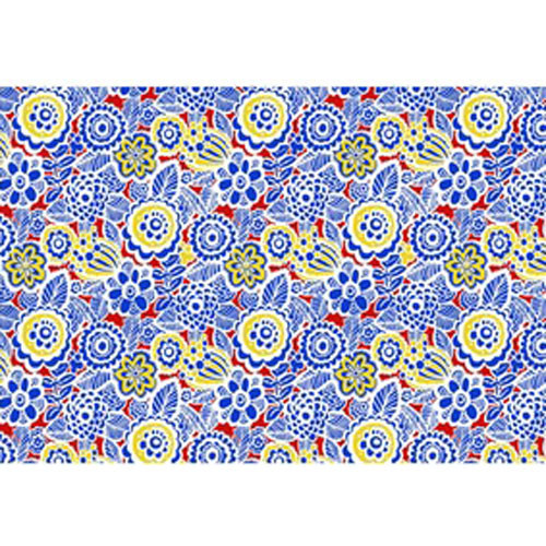 DC 3004  Blue/Red/Yellow  Flowers Underglaze Transfer 18 X 14