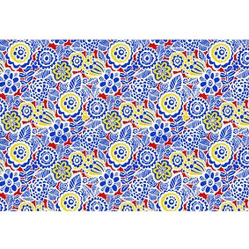 DC 3004  Blue/Red/Yellow  Flowers UnderglazeTransfer18 X 14