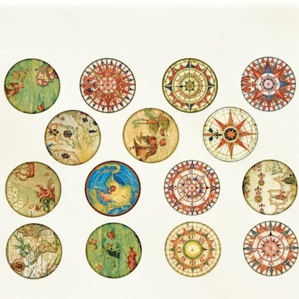Antique Map Circles - Full Color
