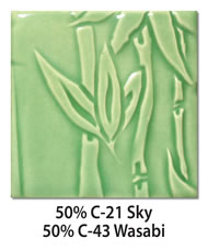 Tile glazed with a mix of 50-percent C-21 Sky plus 50-percent C-43 Wasabi