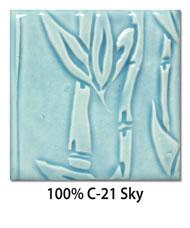 Tile glazed with 100-percent C-21 Sky