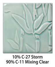 Tile glazed with a mix of 10-percent C-27 Storm plus 90-percent C-11 Mixing Clear
