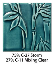 Tile glazed with a mix of 75-percent C-27 Storm plus C-11 Mixing Clear