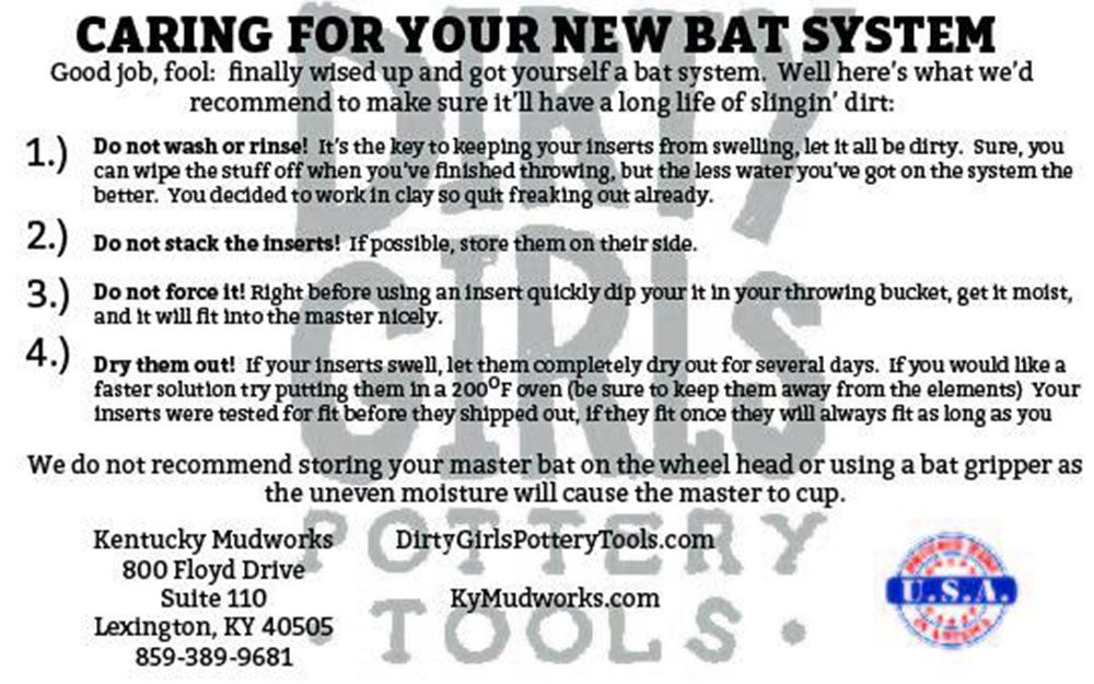 Dirty Girl bat system care instructions