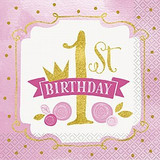 Gold & Pink First Birthday Party Supplies