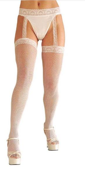 White Lace Fishnets