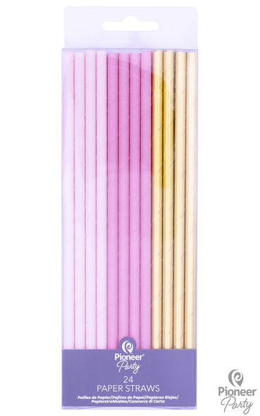 Pink & Gold Party Straw