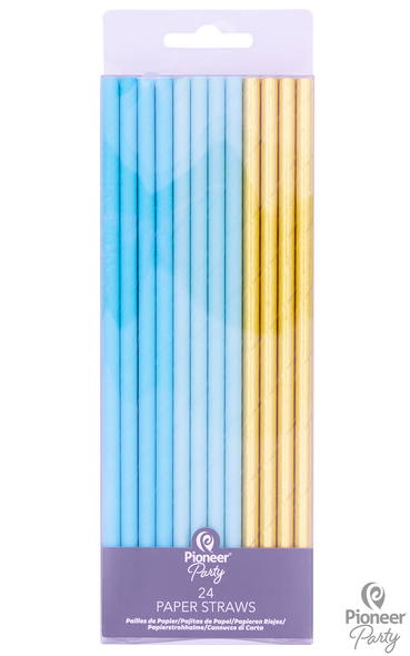 Blue & Gold Party Straws
