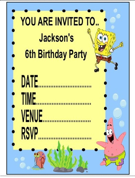 Personalised Spongebob Invites