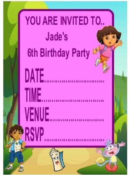 Personalised Dora Invitations