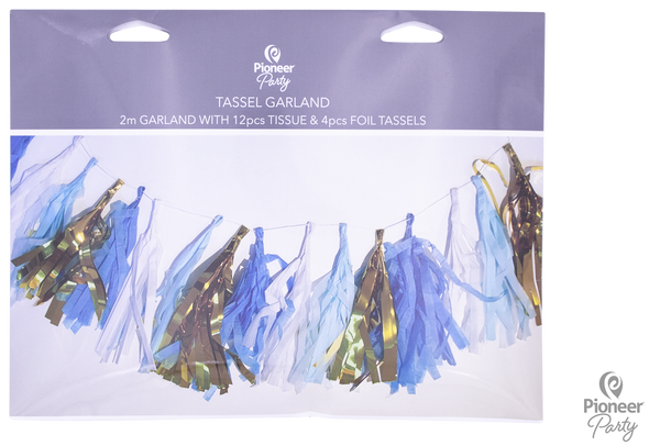 Blue, White & Gold Tassels