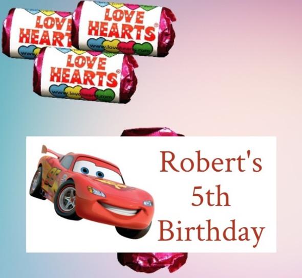 9Pk Cars Loveheart Sweets