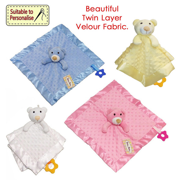 Teddy Dimple Comforter Blanket With Plastic Rattle