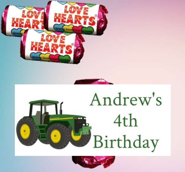 9Pk Tractor Loveheart Sweets
