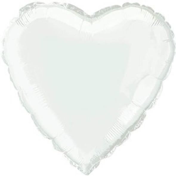 White Heart Shaped Foil Balloon