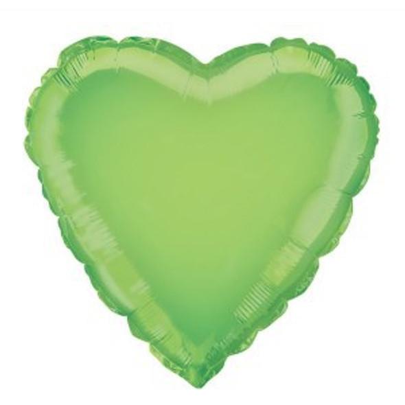 Lime Green Heart Foil Balloon