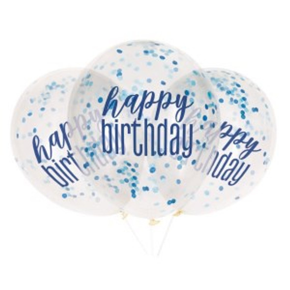 Blue Birthday Confetti Balloon
