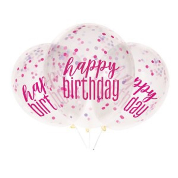 Pink Birthday Confetti Balloon