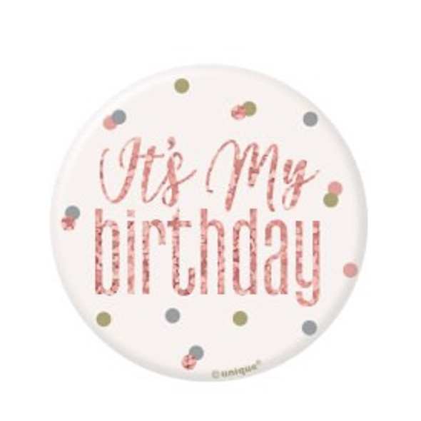Rose Gold Birthday Badge