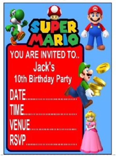 Personalised Super Mario Invites