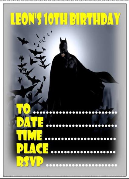 Personalised Batman Invites