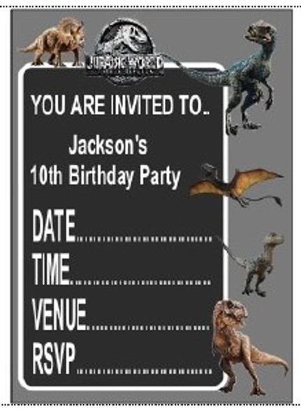 Personalised Jurassic Invites