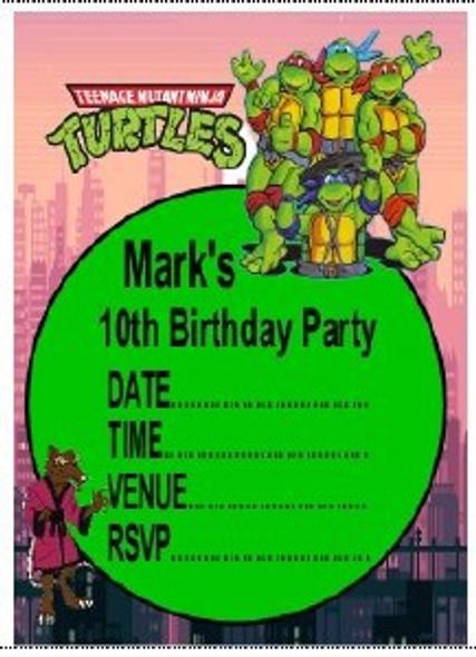 Personalised TMNT Invites