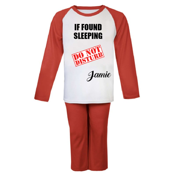 Red Personalised Do Not Disturb PJs