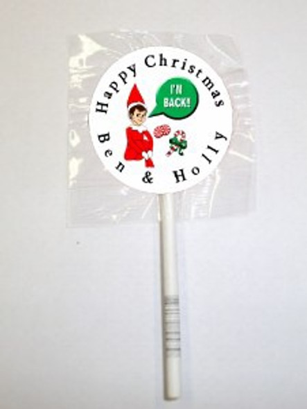 15Pk Personalise Elf Lollipops