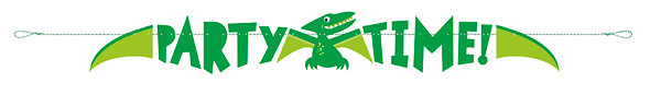Dinosaur Party Time Banner