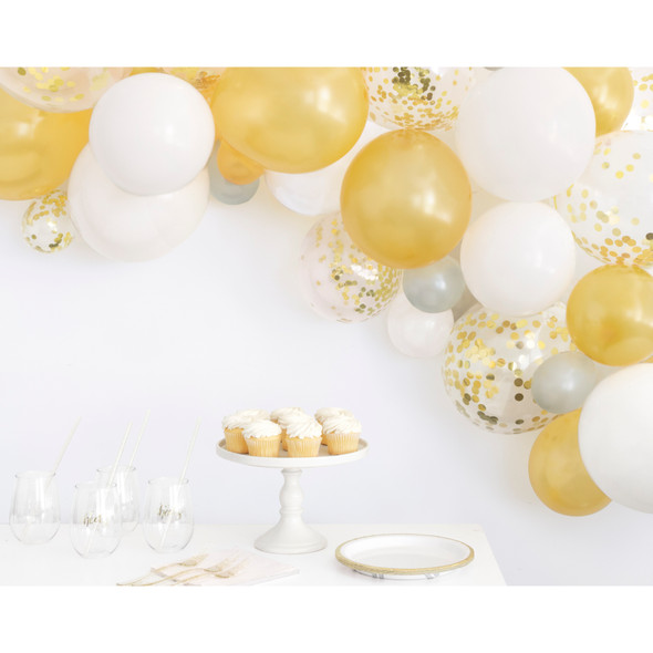Gold, Silver & White Balloon Arch Kit