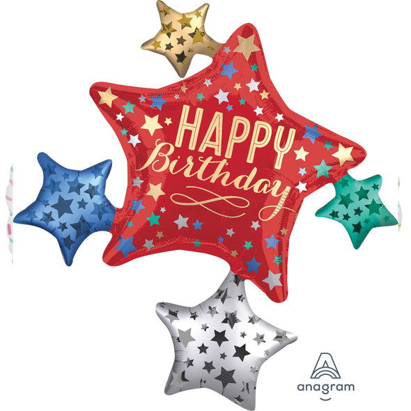Happy Birthday To You Satin Star Cluster Supershape Foil Balloon
