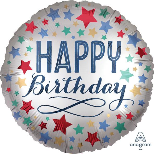 Happy Birthday Satin Stars Foil Balloon