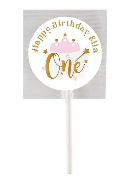 15Pk Pink & Gold 1st Birthday Lollipops