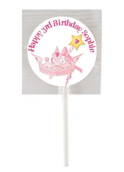 15Pk Pink Princess Lollipops