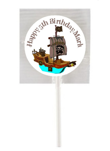 15Pk Personalised Pirate Lollipops