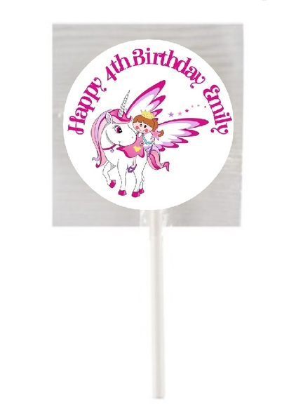 15Pk Princess & Unicorn Lollipops