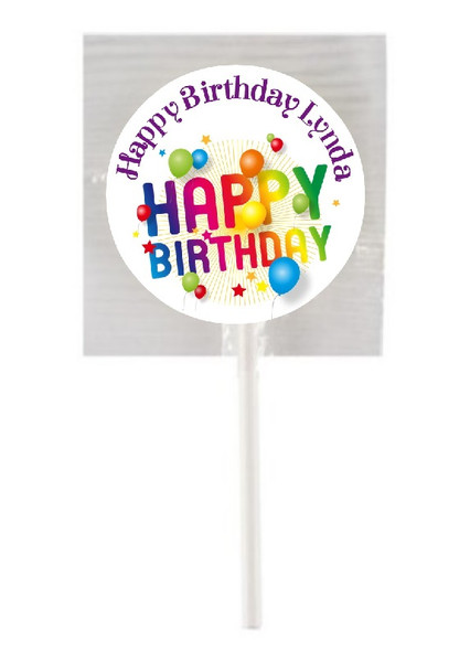 15Pk Personalised Rainbow Birthday Lollipops