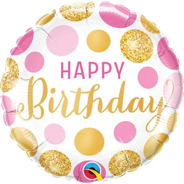Pink & Gold Dots Birthday Balloon