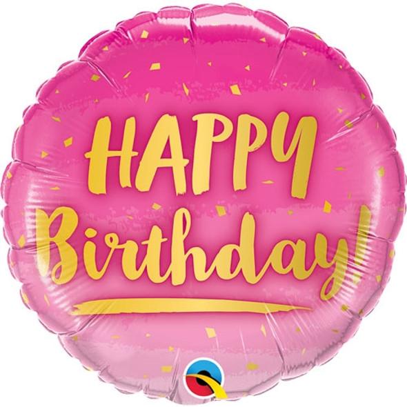 Hot Pink & Gold Happy Birthday Foil Balloon