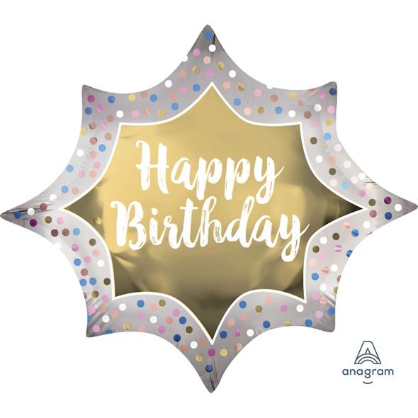 Happy Birthday Satin Gold Burst SuperShape Foil Balloon
