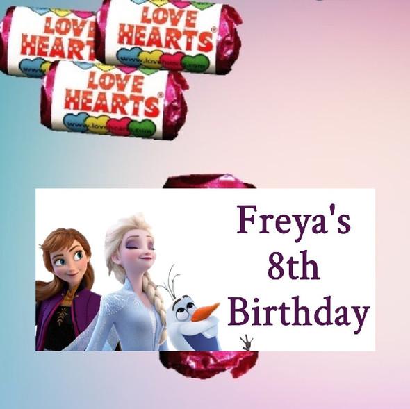 9Pk Personalised Frozen 2 Love Heart Sweets
