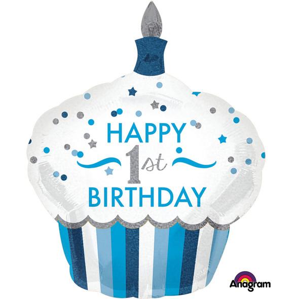 1st Birthday Cupcake Boy SuperShape Foil Balloons