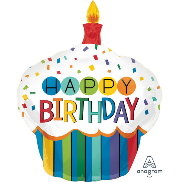 Rainbow Birthday Cupcake SuperShape Foil Balloon