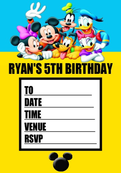 Personalised Mickey Mouse & Friends Party Invites