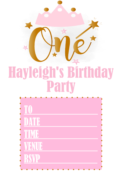 Personalised Pink & Gold Party Invites