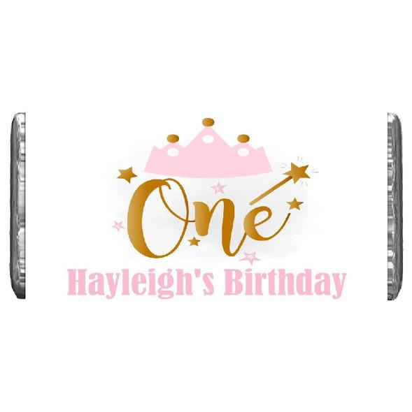 7Pk Pink & Gold 1st Birthday Chocolate Bars